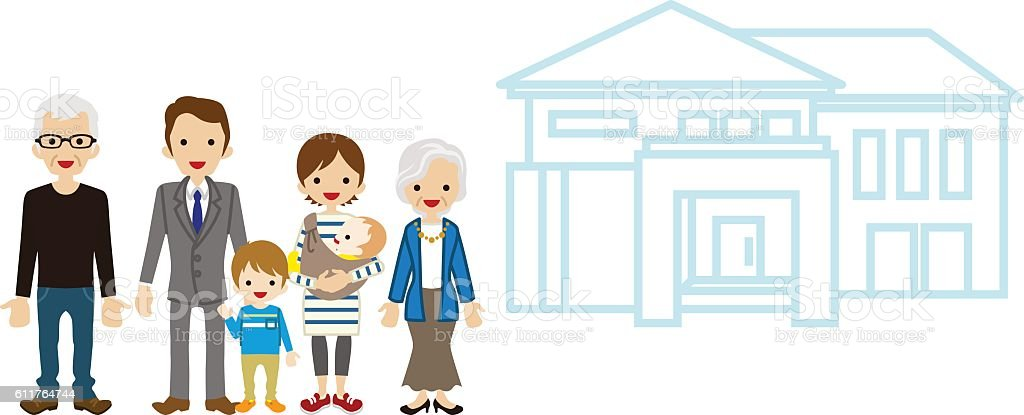 Multi-Generation Family with House - Active Seniors vector art illustration