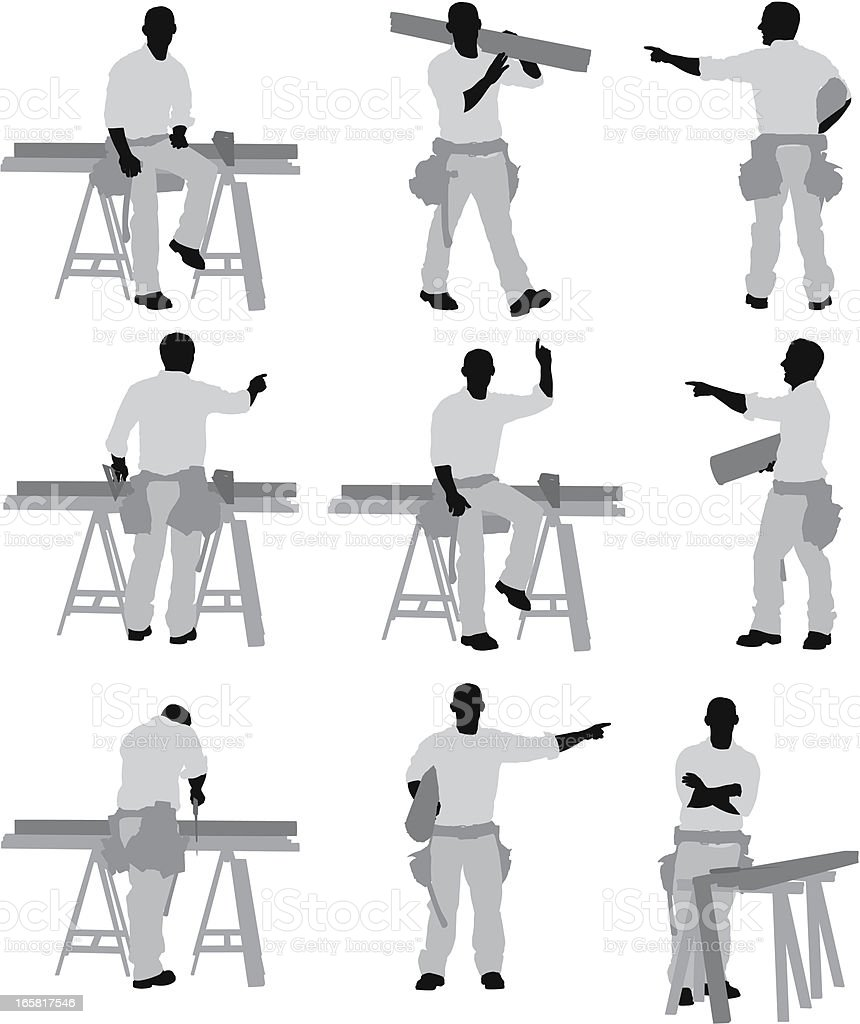 Multile images of a construction worker vector art illustration