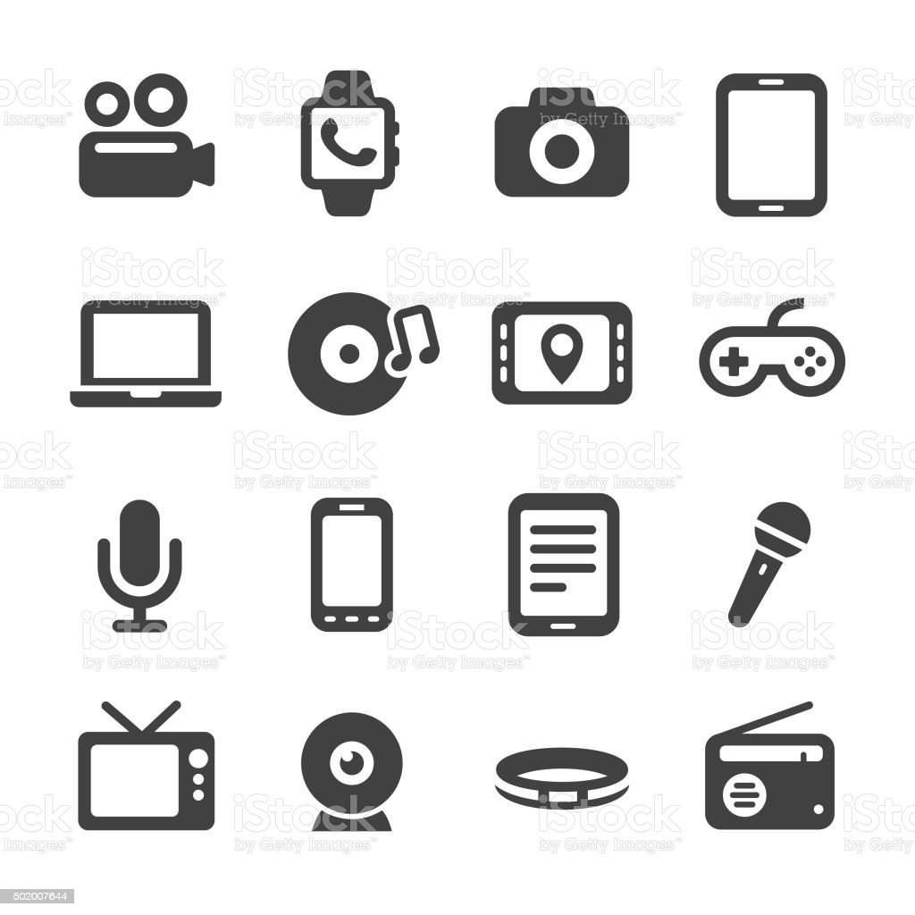Multimedia and Equipment Icons - Acme Series vector art illustration