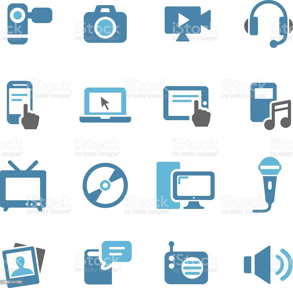 Multimedia and Equipment Icons - Conc Series vector art illustration