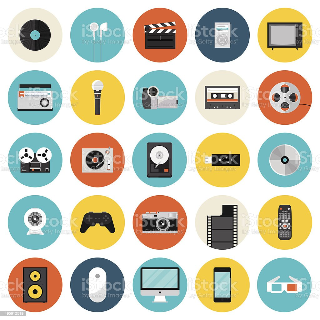 Multimedia and technology flat icons vector art illustration