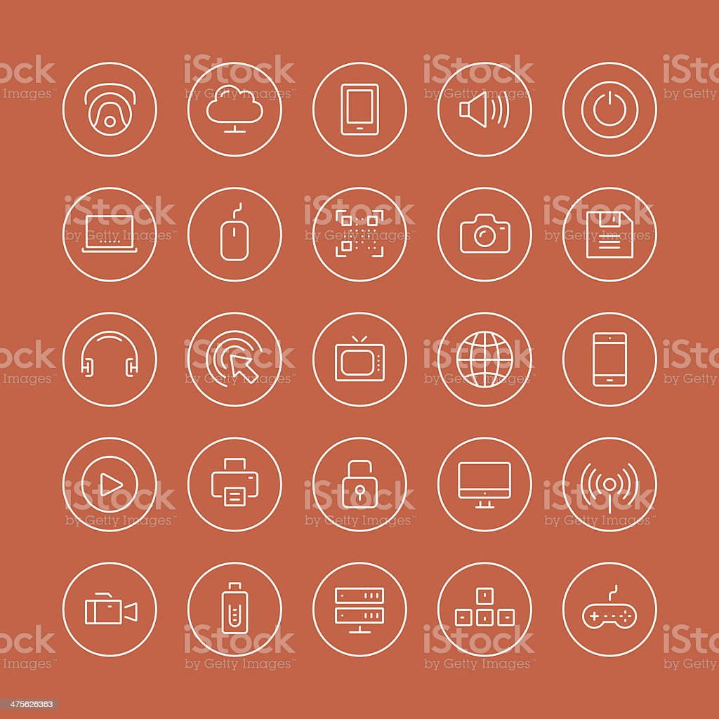 Multimedia and technology flat line icons vector art illustration