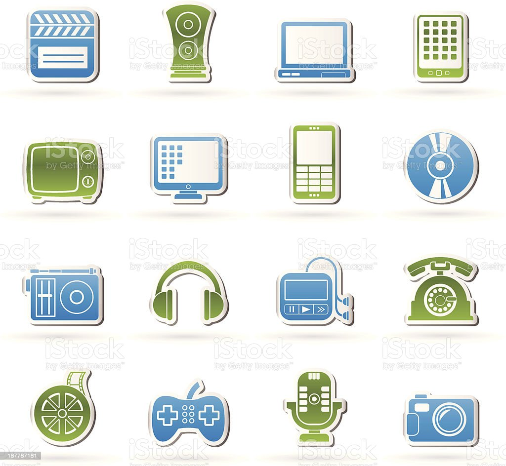 multimedia and technology icons royalty-free stock vector art