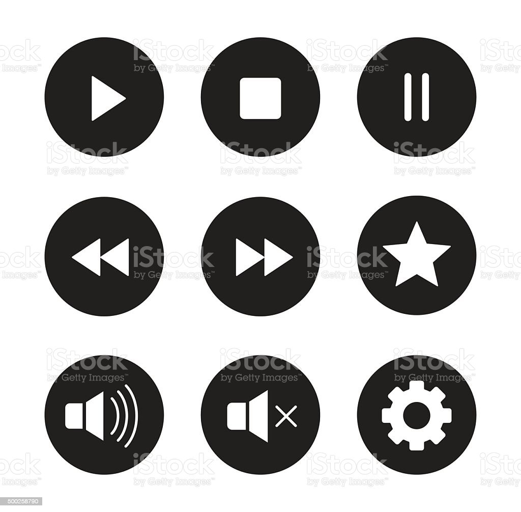 Multimedia black icons set vector art illustration