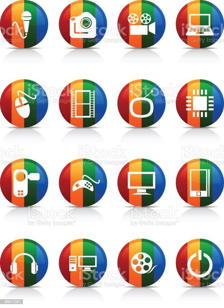 Multimedia  buttons. vector art illustration