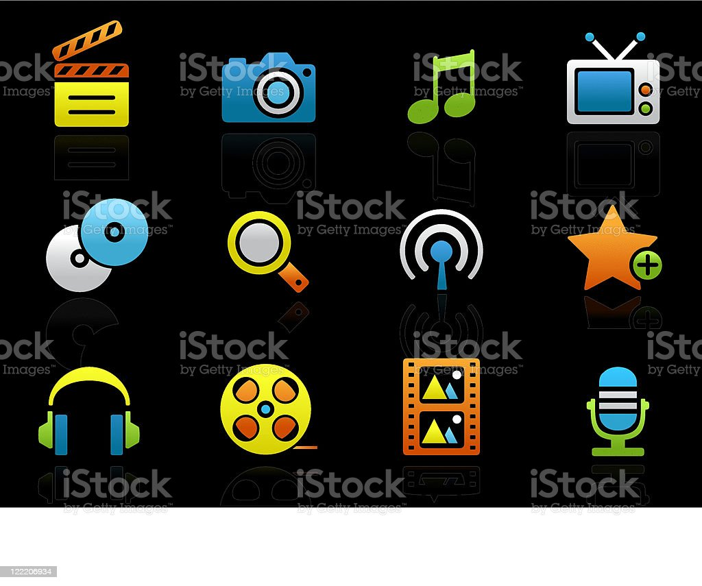 Multimedia colored icons on the black royalty-free stock vector art