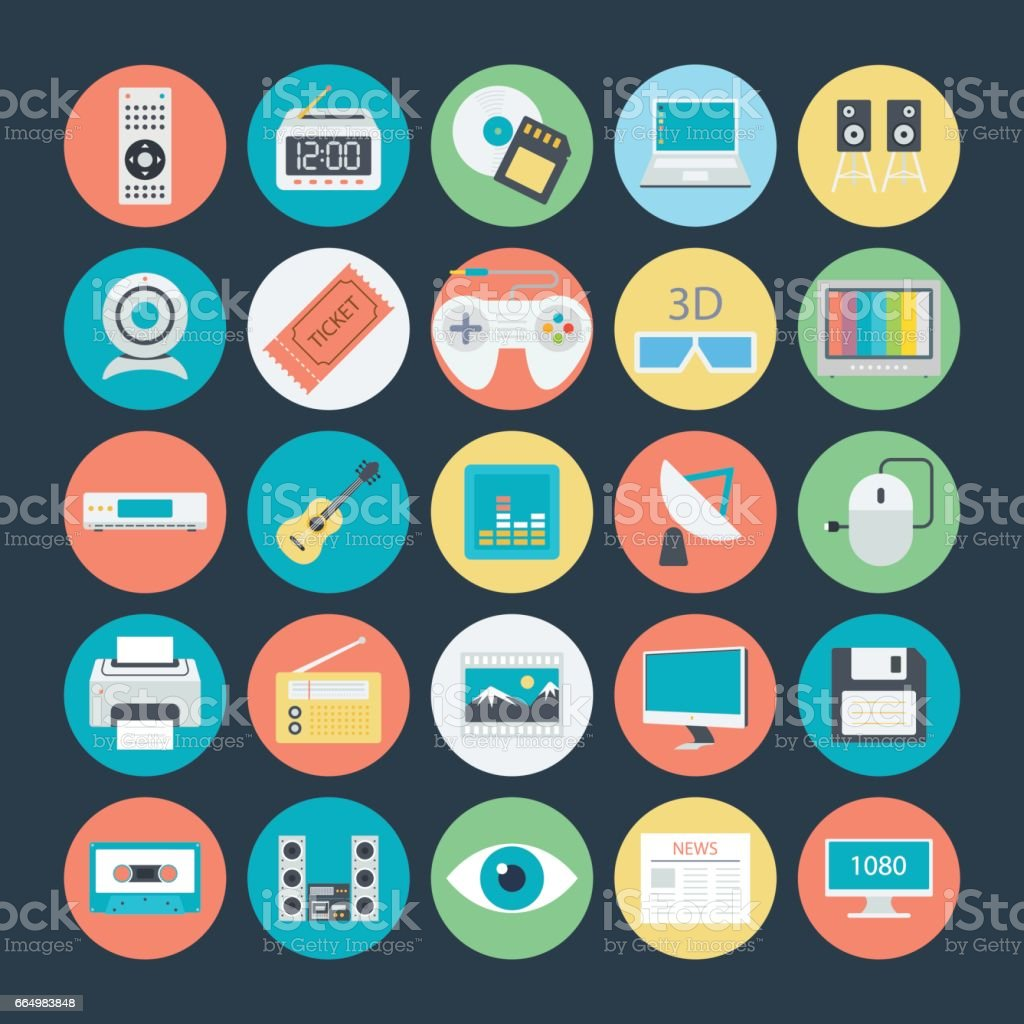 Multimedia Colored Vector Icons 2 vector art illustration