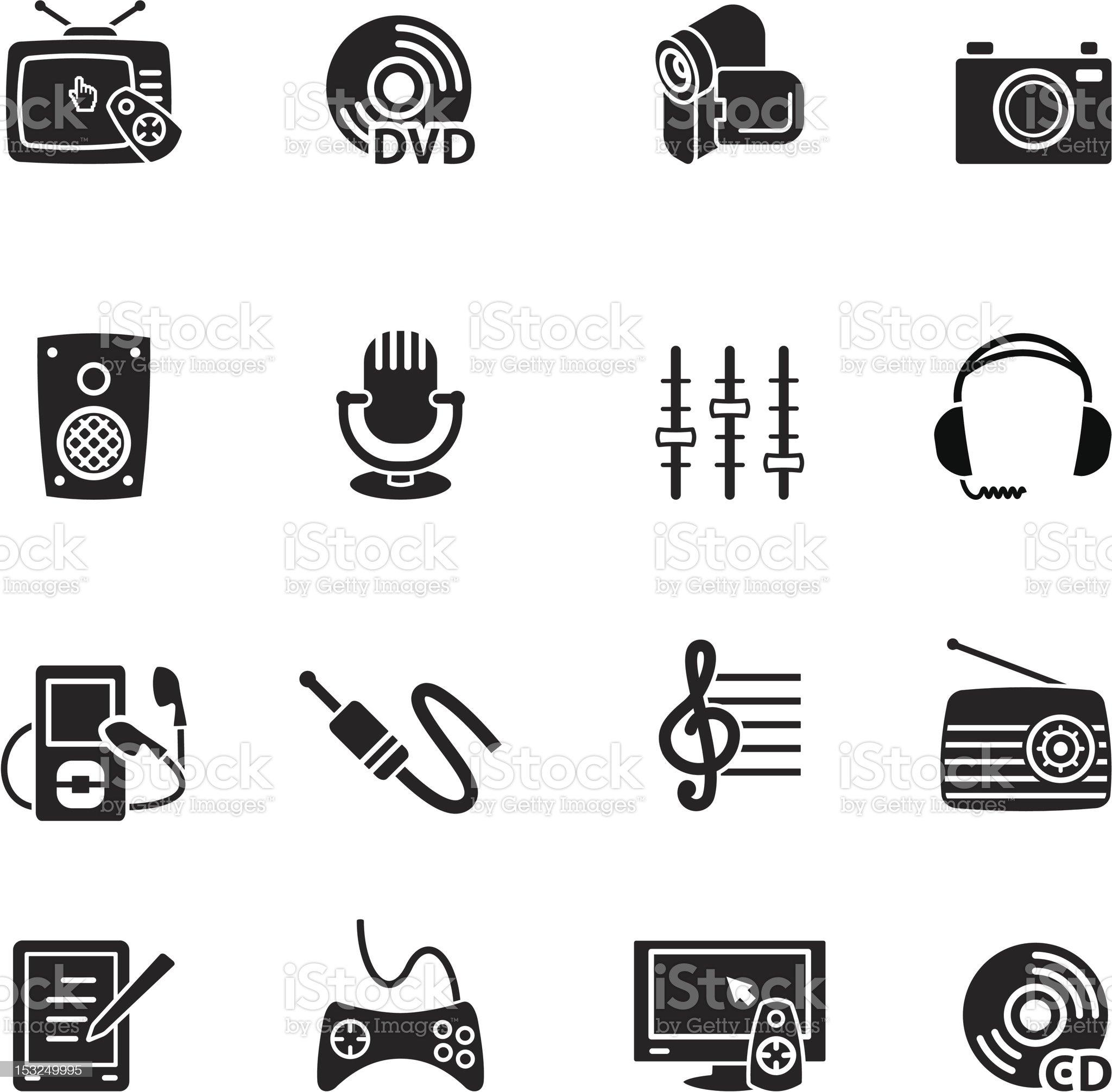 Multimedia computer icon set royalty-free stock vector art