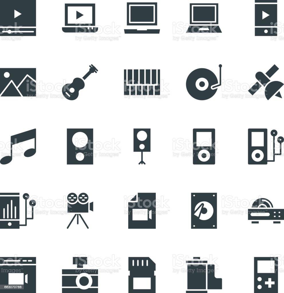 Multimedia Cool Vector Icons 3 vector art illustration