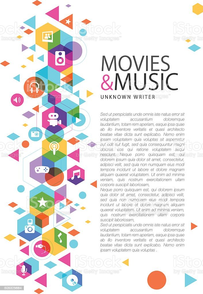 Multimedia design on movies and music vector art illustration