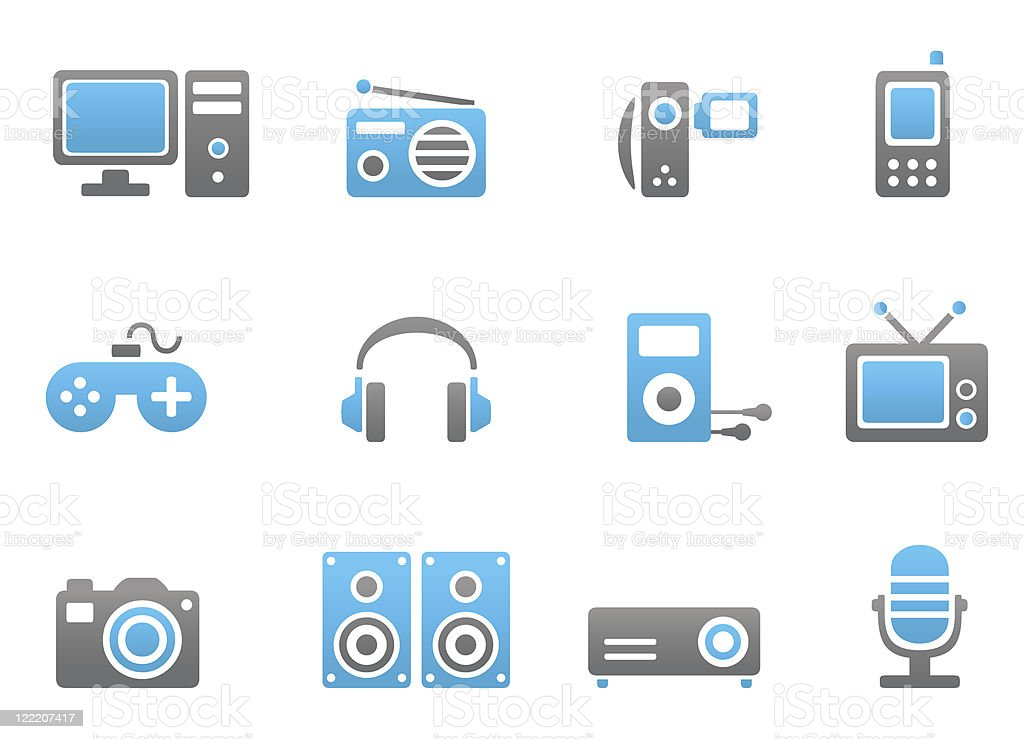 Multimedia devices blue and gray icons royalty-free stock vector art