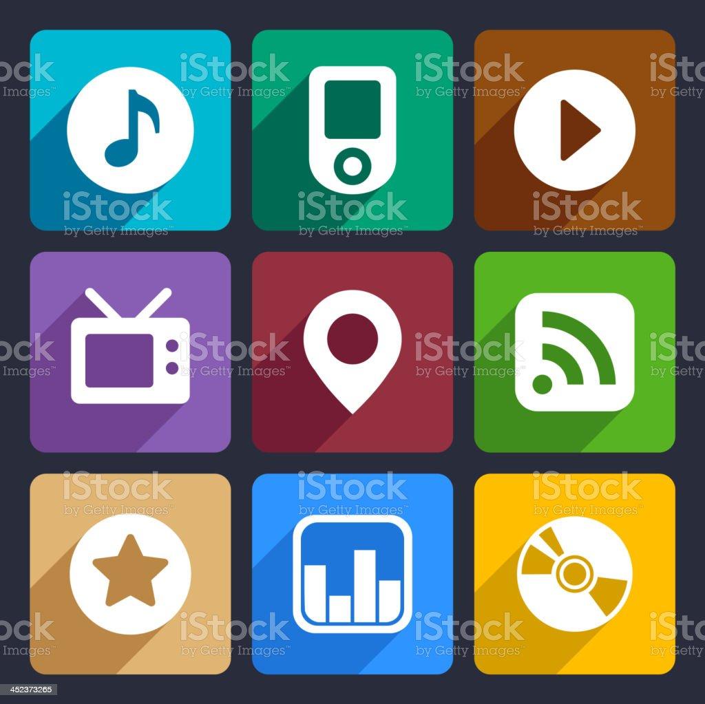 Multimedia flat icons set  1 royalty-free stock vector art