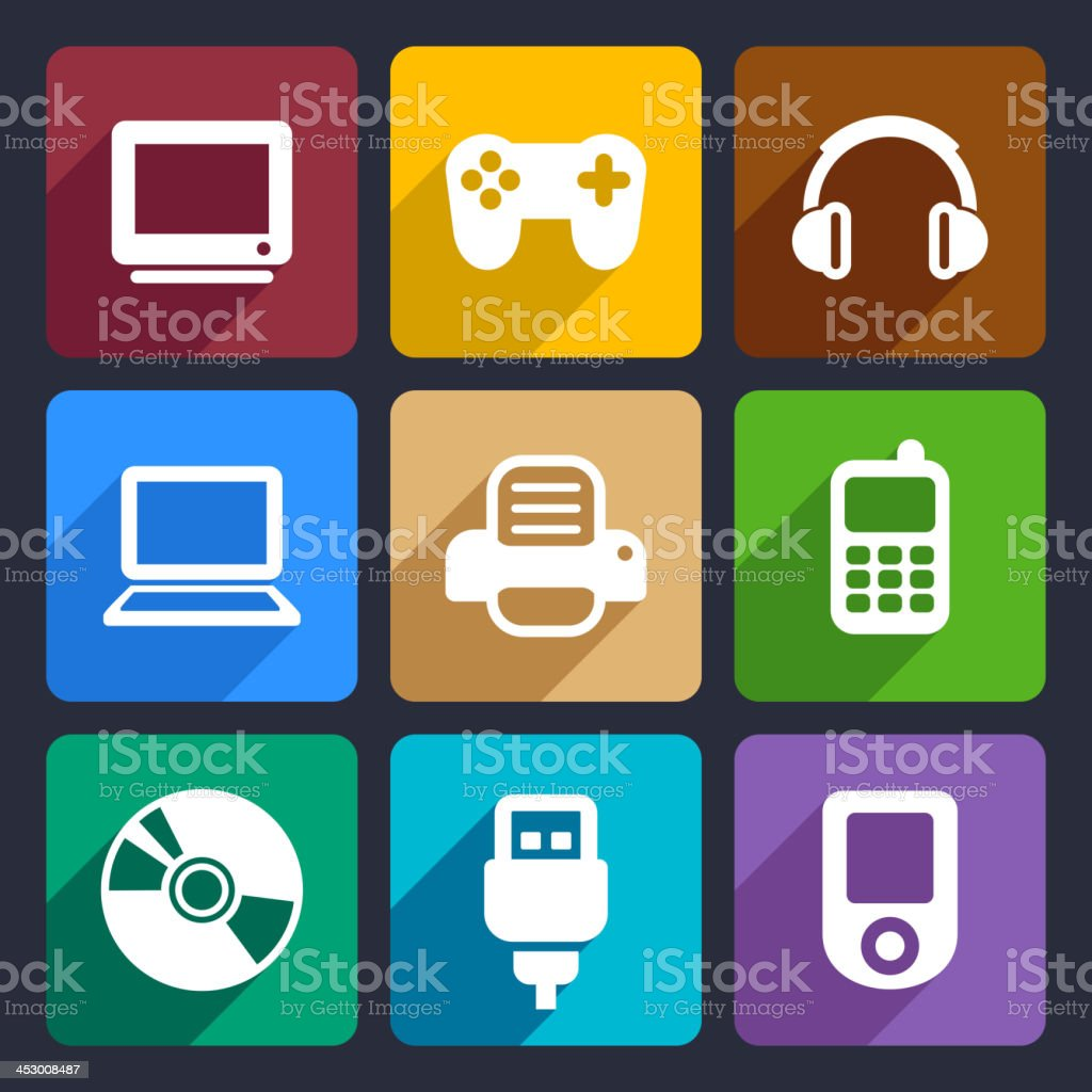 Multimedia flat icons set 7 royalty-free stock vector art