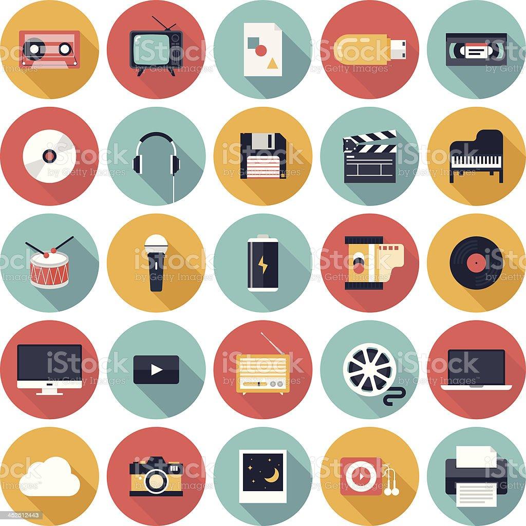 Multimedia flat icons set vector art illustration