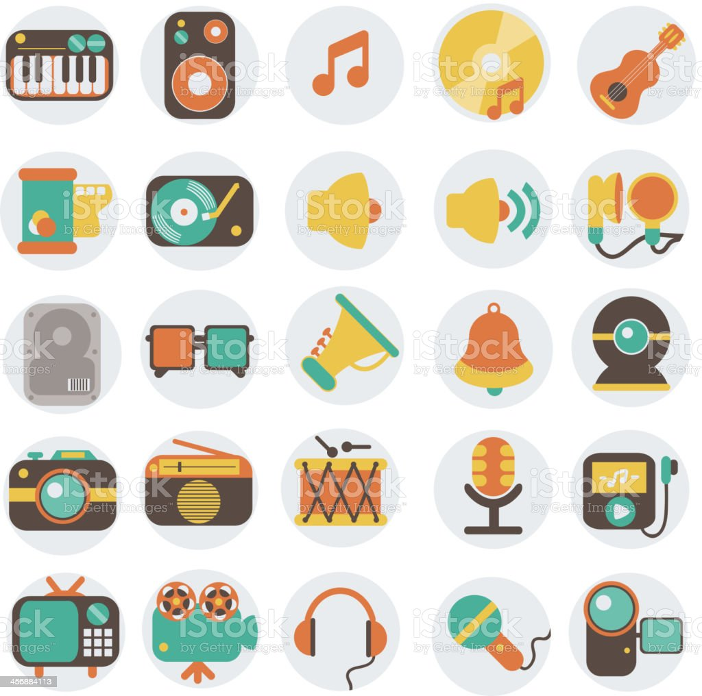 Multimedia flat icons set royalty-free stock vector art