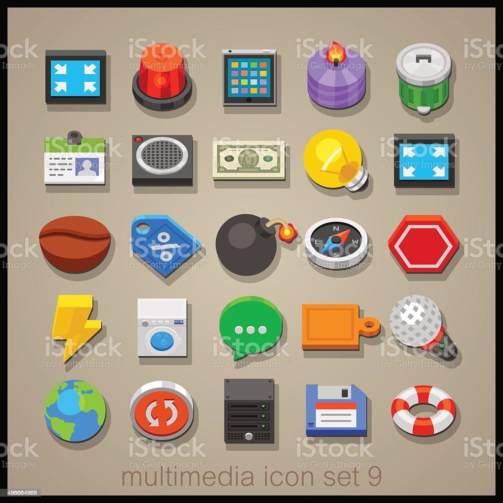 Multimedia icon set-9 vector art illustration
