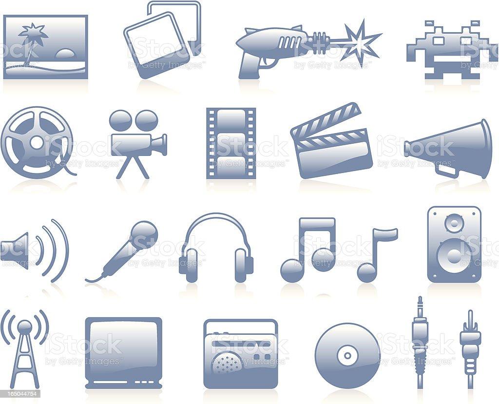 Multimedia Icons - Blue vector art illustration
