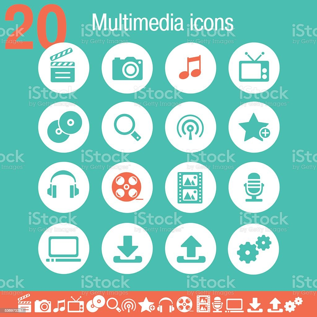 Multimedia icons   Flat emerald collection vector art illustration