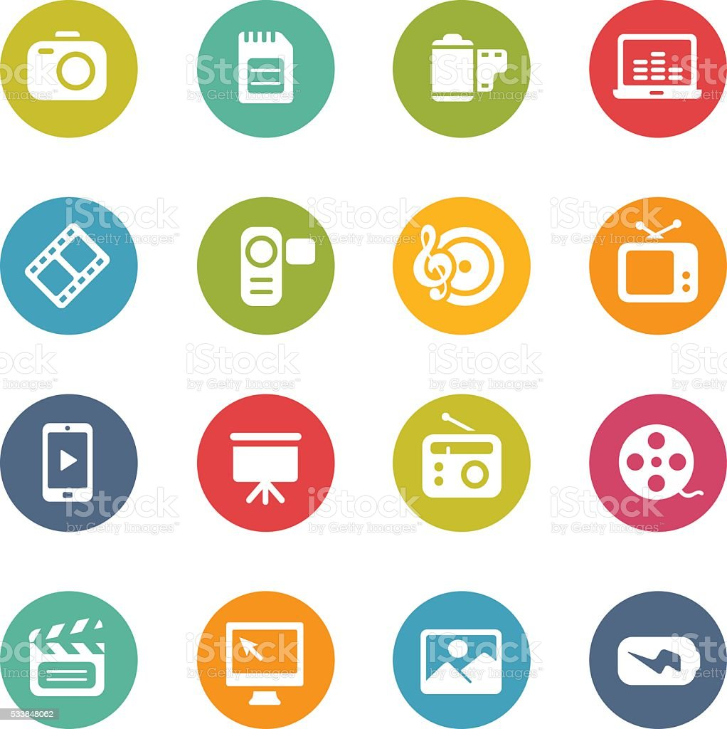 Multimedia Icons - Fresh Colors vector art illustration
