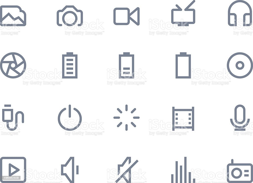 Multimedia icons. Line series vector art illustration