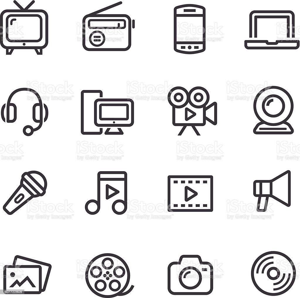 Multimedia Icons - Line Series vector art illustration