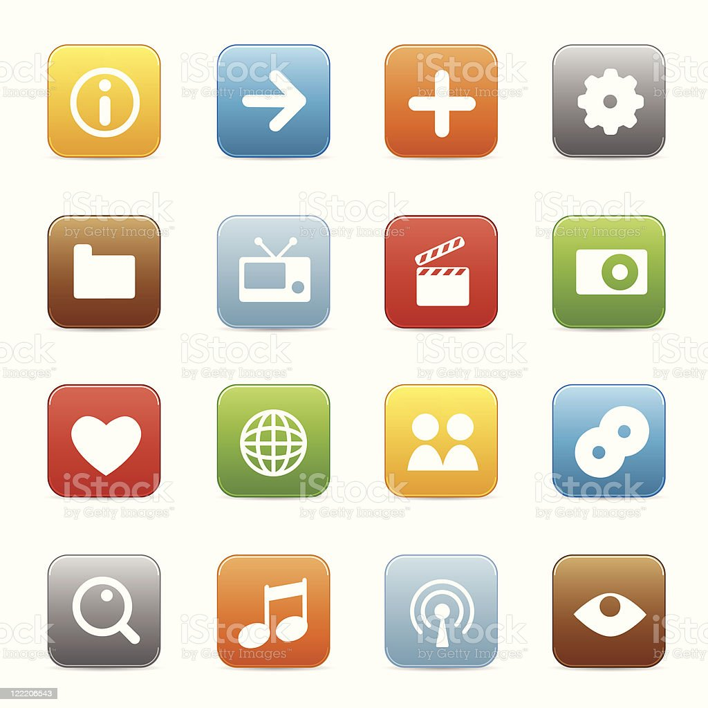Multimedia icons | Multicolored series royalty-free stock vector art