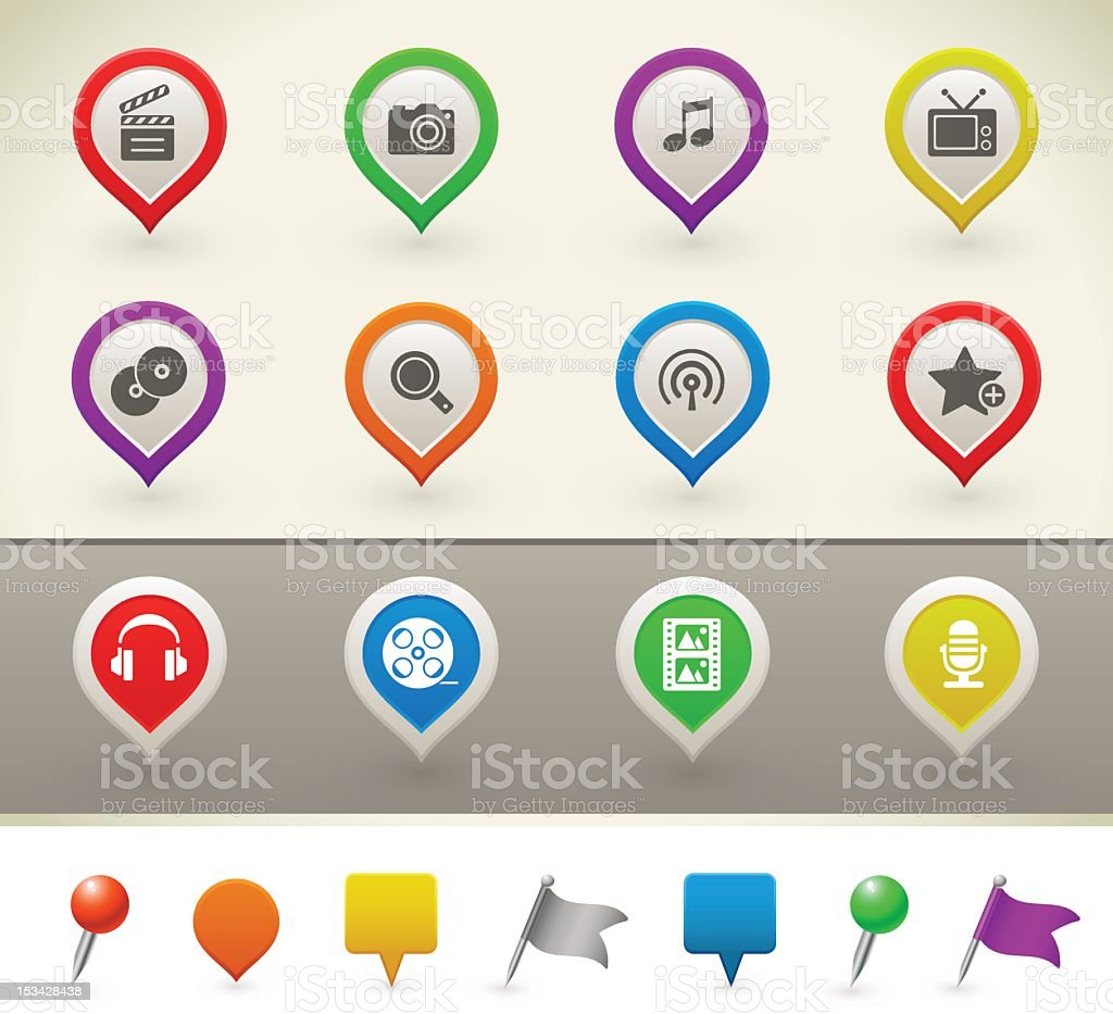Multimedia icons on pins stock photo
