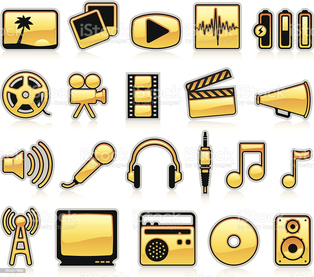 Multimedia Icons - Orange royalty-free stock vector art