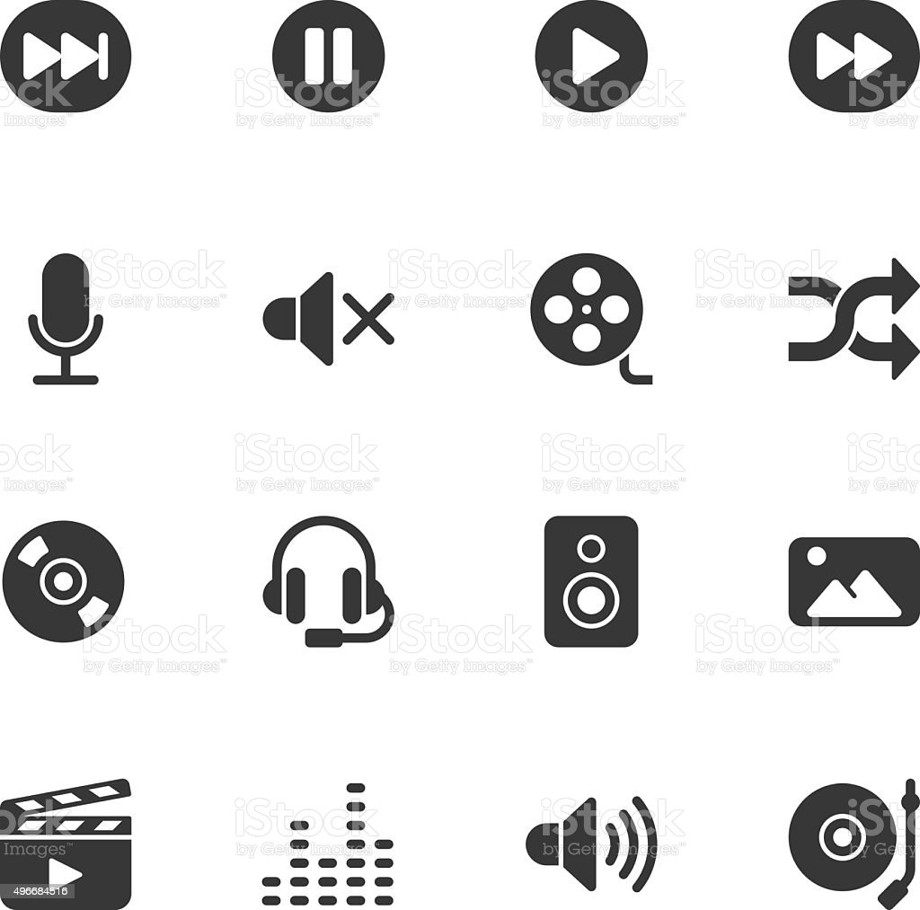 Multimedia icons - Regular vector art illustration