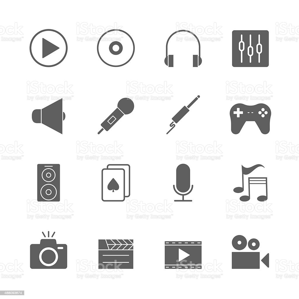 multimedia icons set vector art illustration