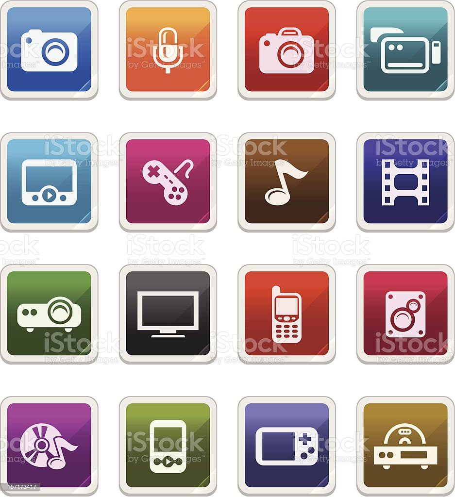Multimedia Icons -  sticker series royalty-free stock vector art