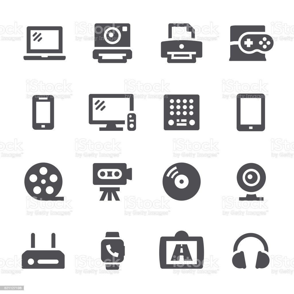 Multimedia icons vector art illustration