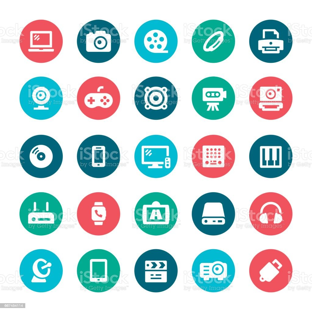 Multimedia icons vector art illustration