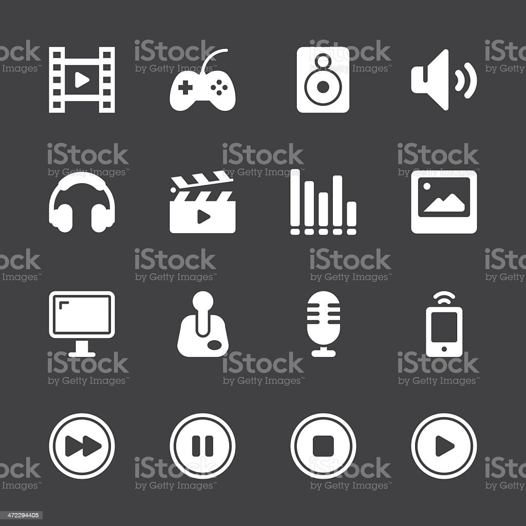 Multimedia Icons - White Series | EPS10 royalty-free stock vector art
