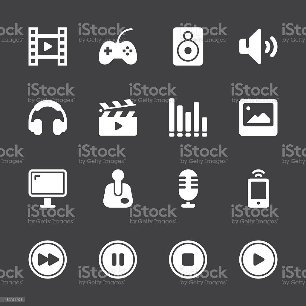 Multimedia Icons - White Series   EPS10 vector art illustration