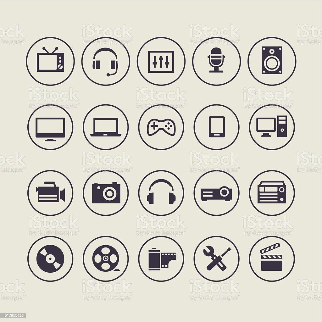Multimedia Light Icons vector art illustration