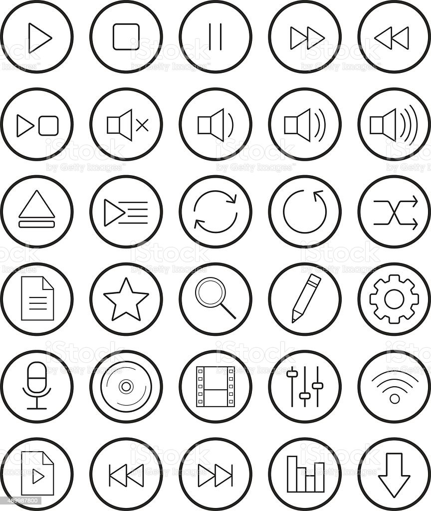 Multimedia linear icons set vector art illustration
