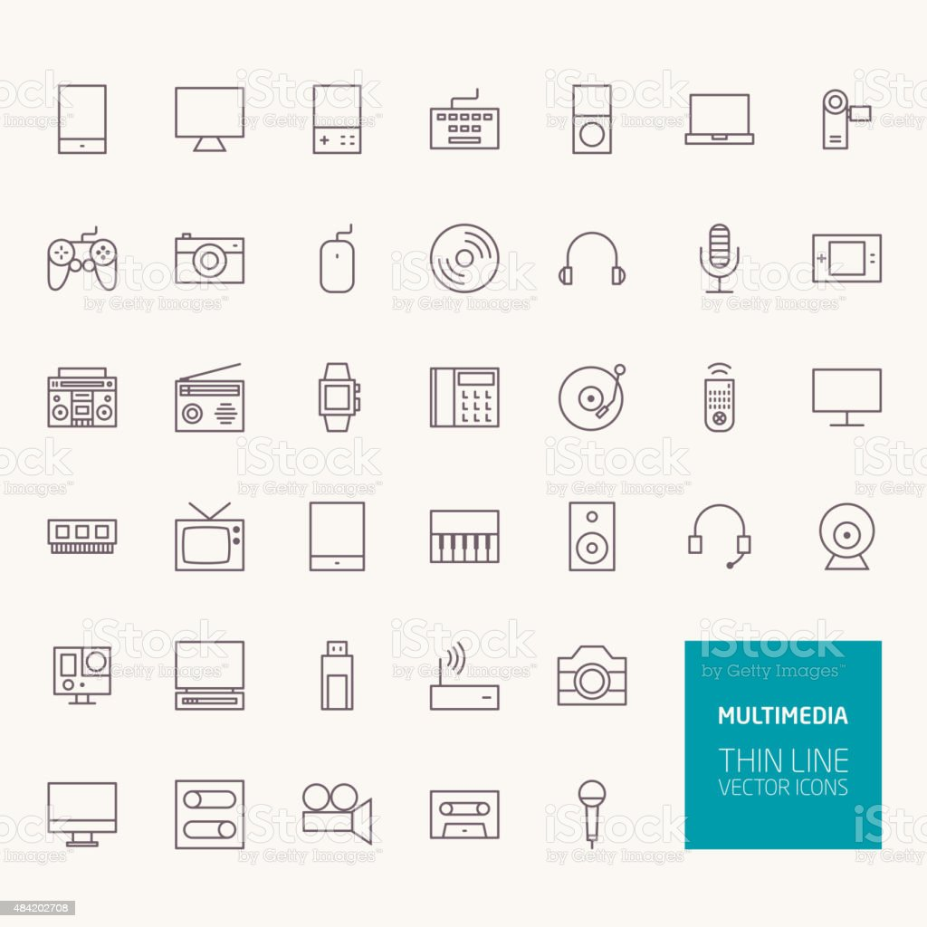 Multimedia Outline Icons for web and mobile apps vector art illustration