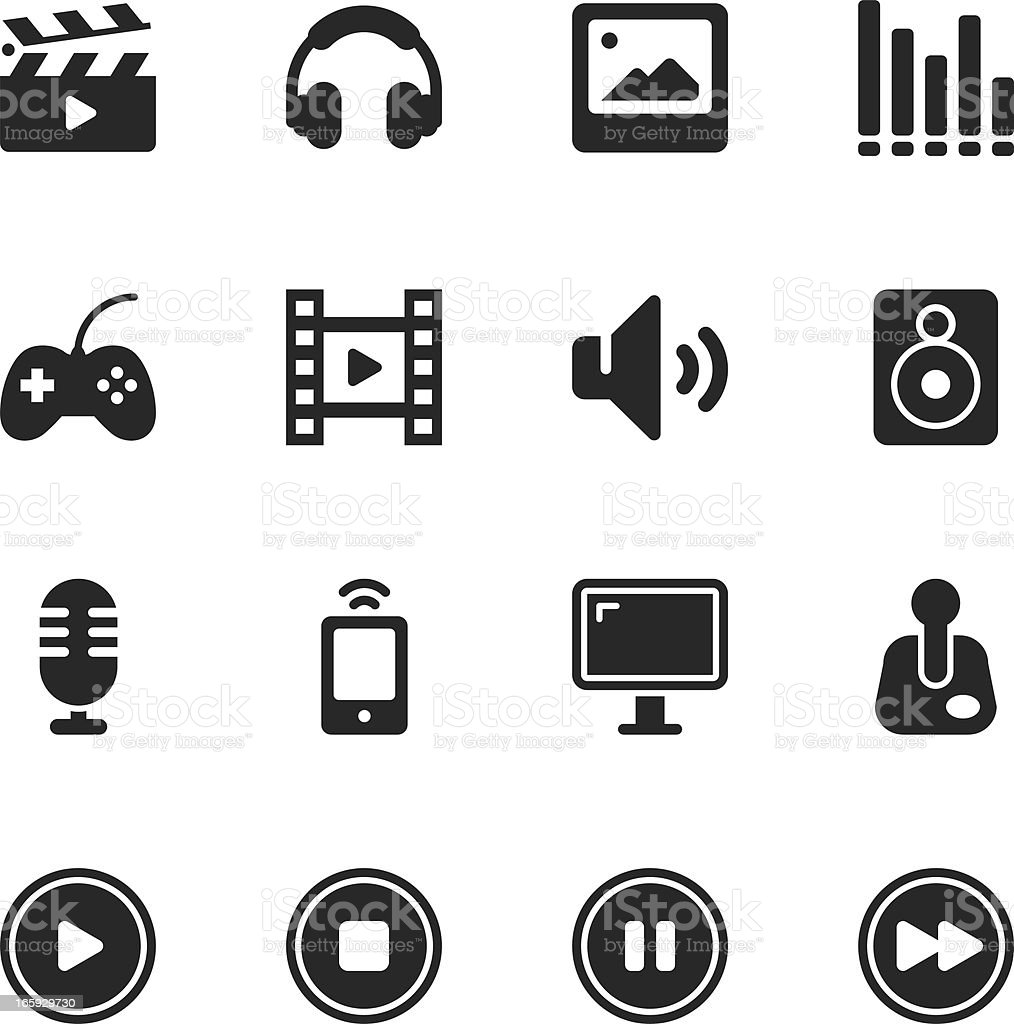 Multimedia Silhouette Icons royalty-free stock vector art