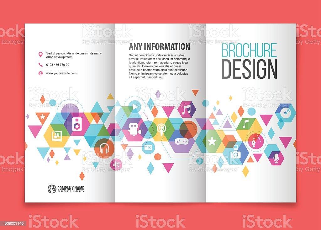 Multimedia tri fold brochure vector art illustration