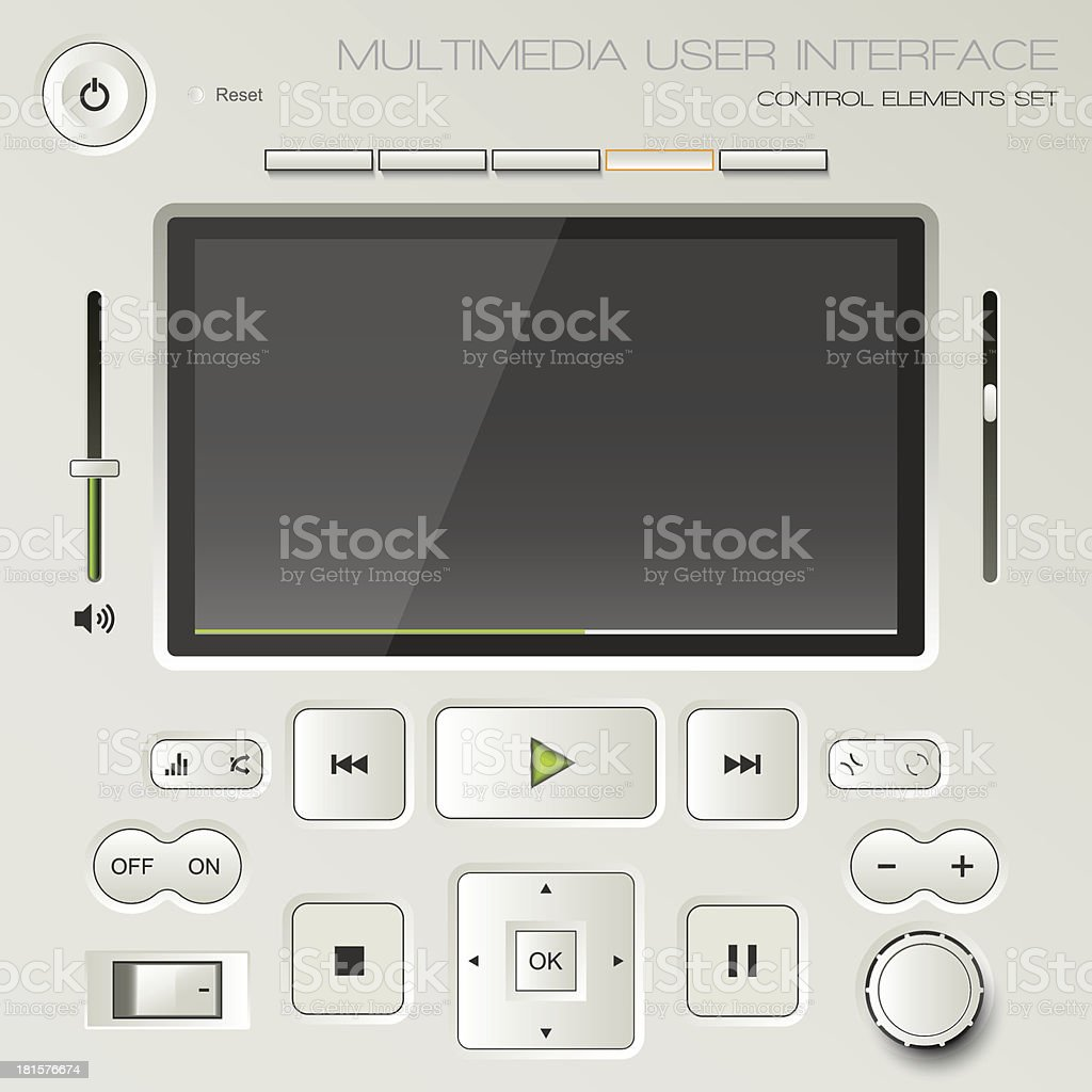 Multimedia user interface set royalty-free stock vector art
