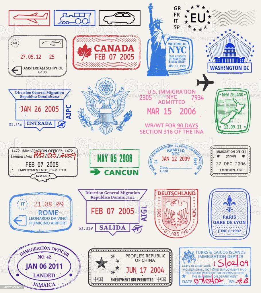 Multinational grunge stamps vector art illustration