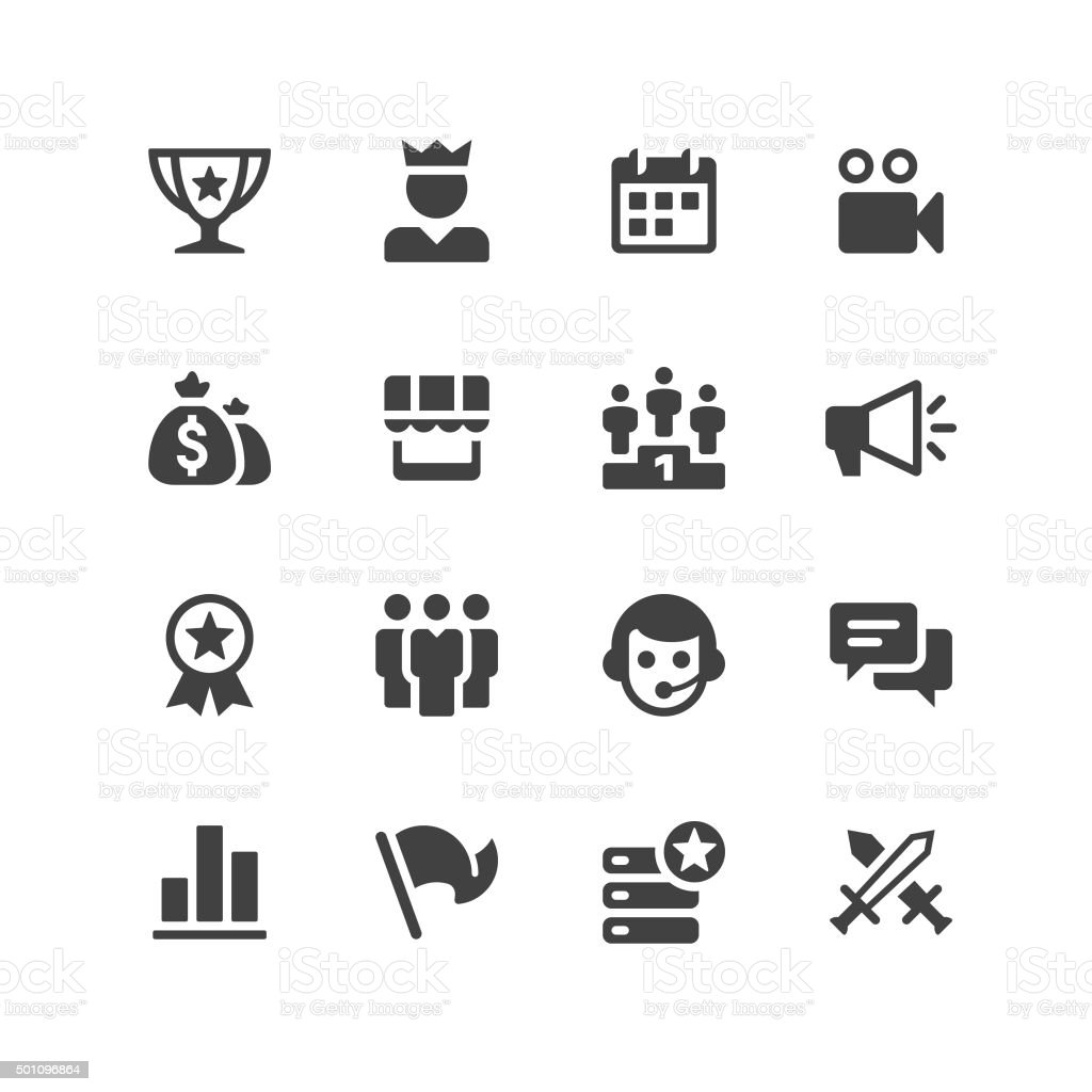 Multiplayer Game Icons vector art illustration