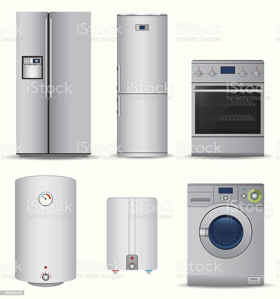 Multiple appliances for a household vector art illustration