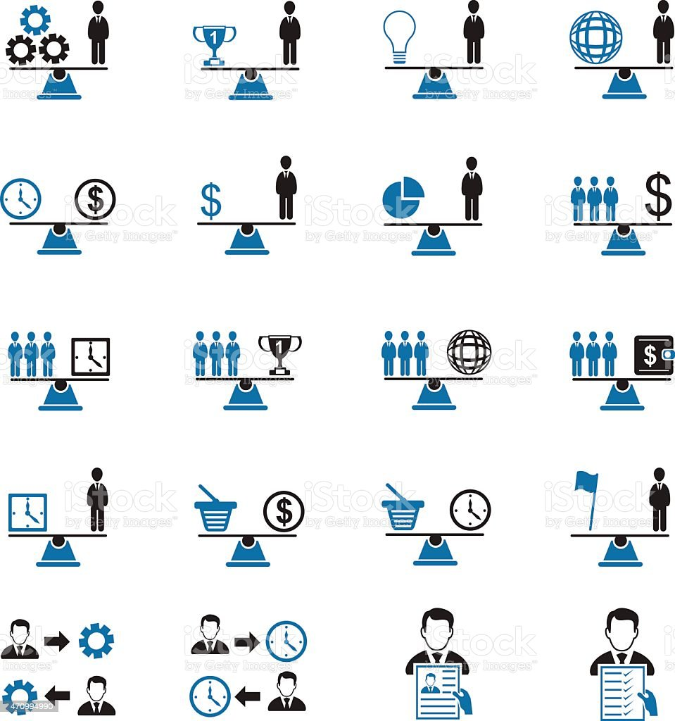 Multiple blue and black icons of scales vector art illustration