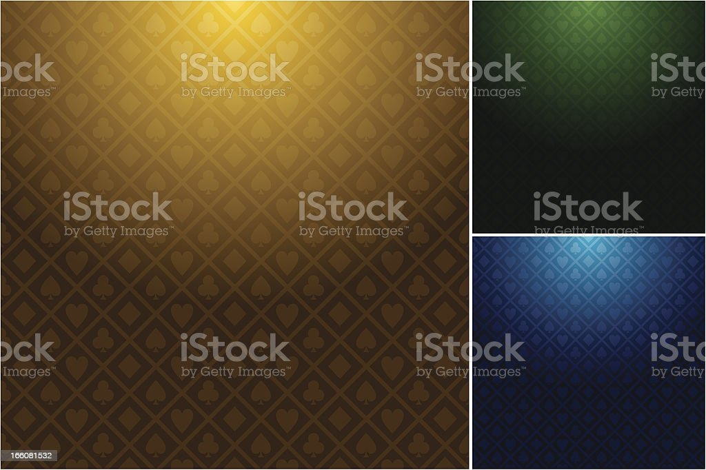 Multiple casino backgrounds in three different colors vector art illustration