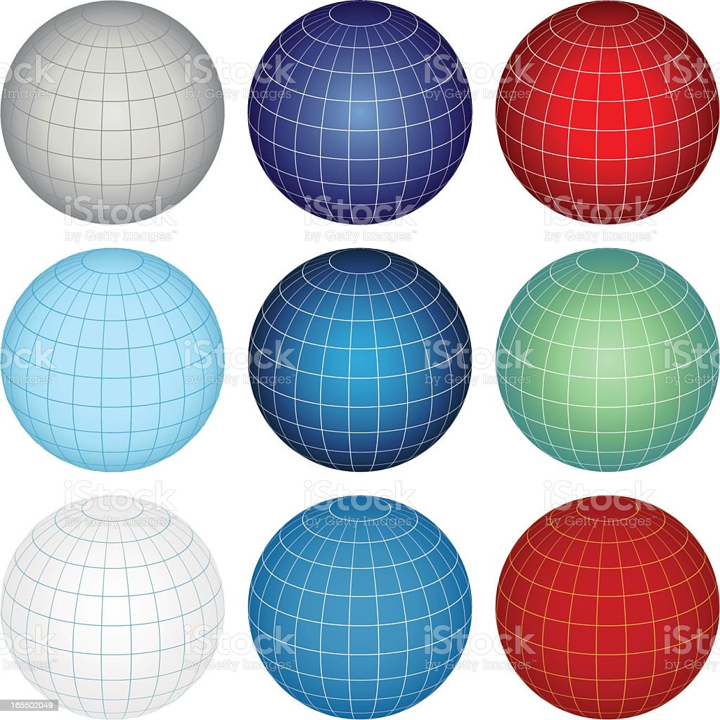 Multiple colored globes in rows on a white background vector art illustration