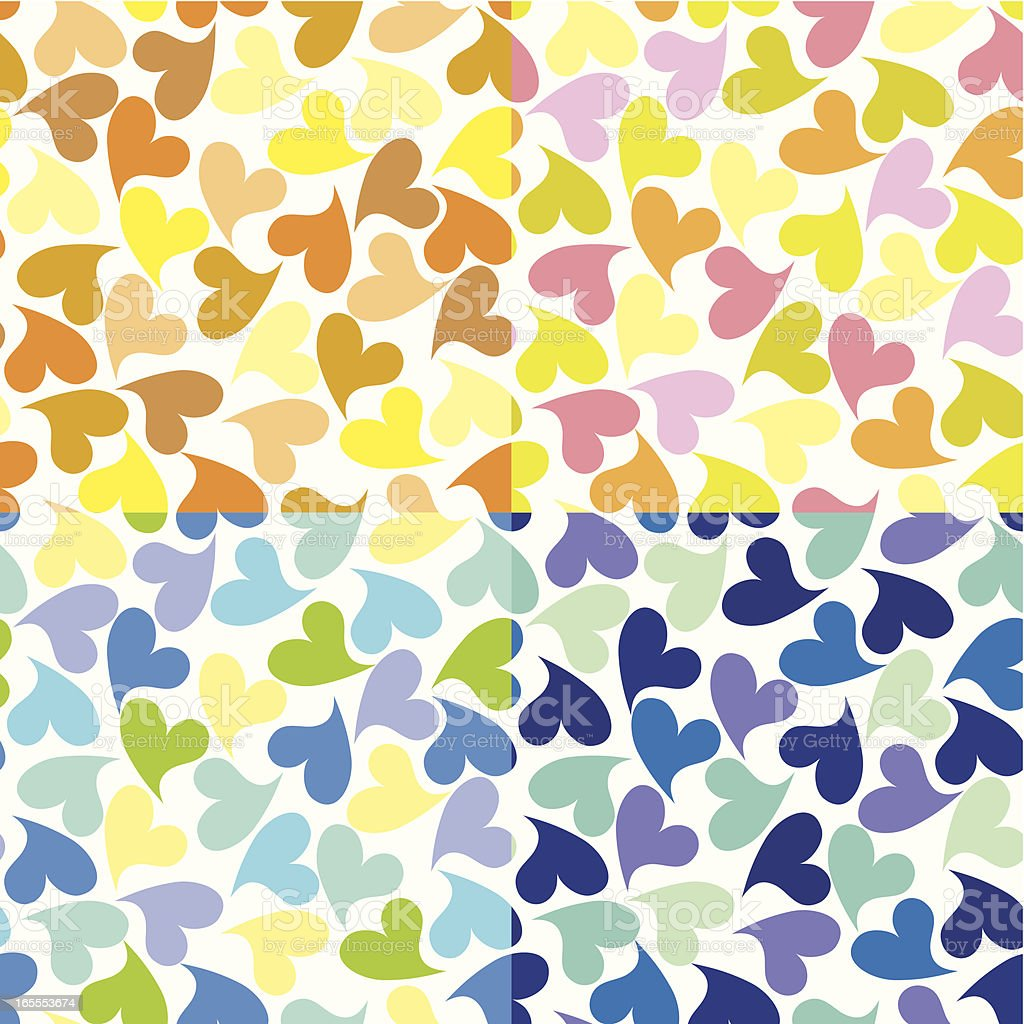 Multiple colored hearts on a square background royalty-free stock vector art