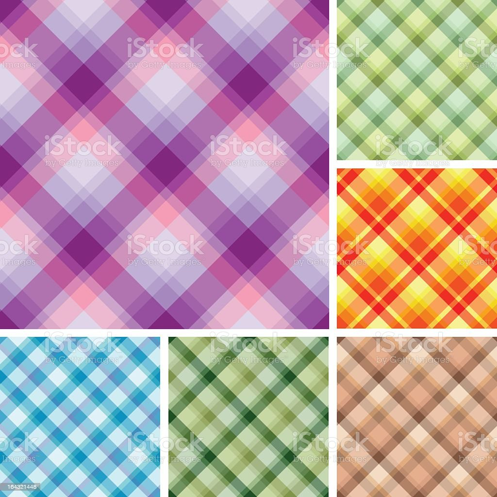 Multiple colored plaid designs royalty-free stock vector art