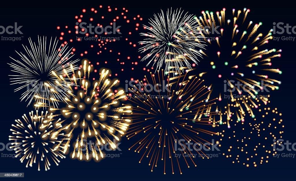Multiple colorful fireworks bursts on black background vector art illustration